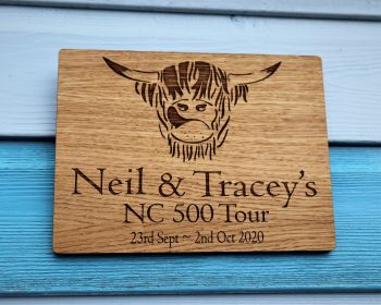 Personalised Coo Head NC500 Oak Veneer Wall Plaque.