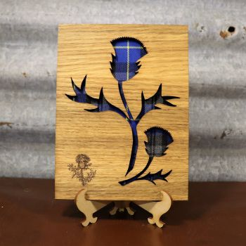 Royal Blue Thistle Wall Art with Engraved Thistle Emblem. 20x15cm