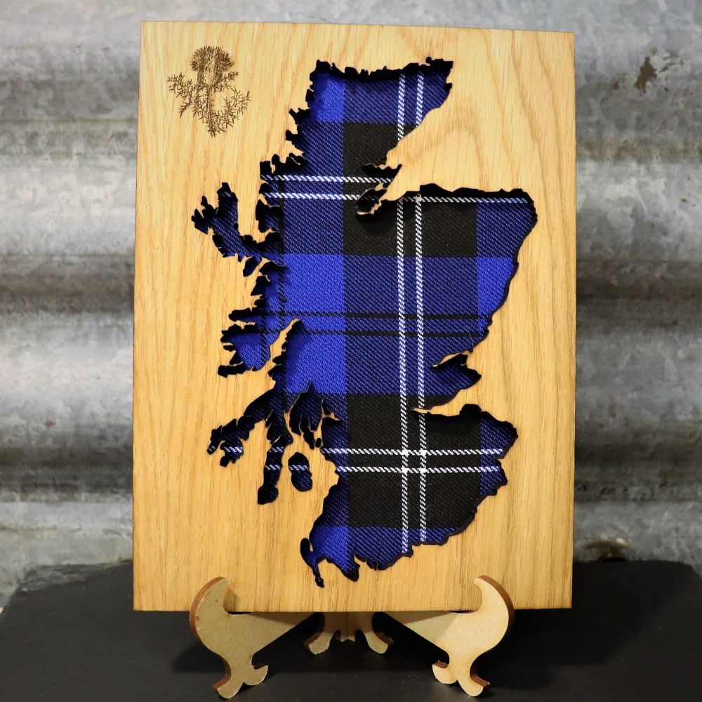 Royal Blue Scotland Cut-Out Wall Art with Engraved Thistle Emblem. 20x15cm