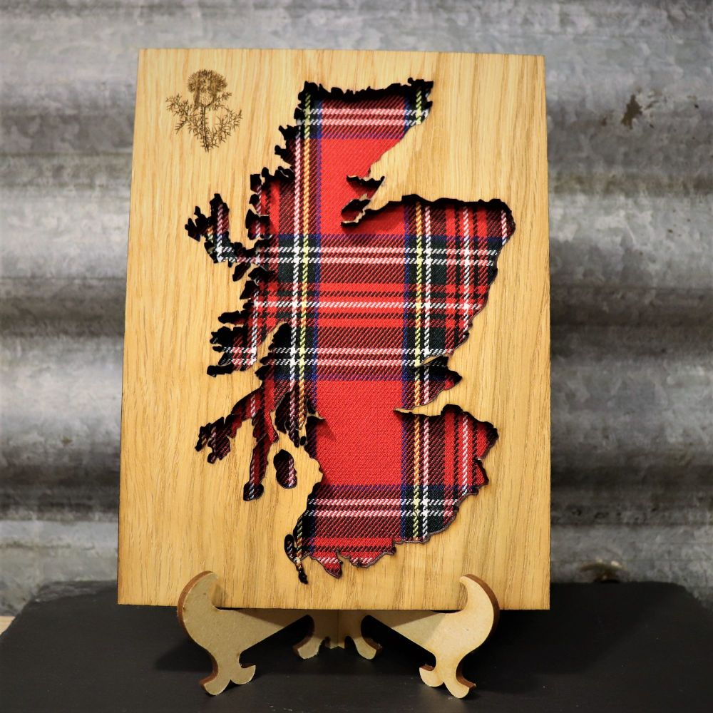 Royal Stewart Scotland Cut-Out Wall Art with Engraved Thistle Emblem. 20x15