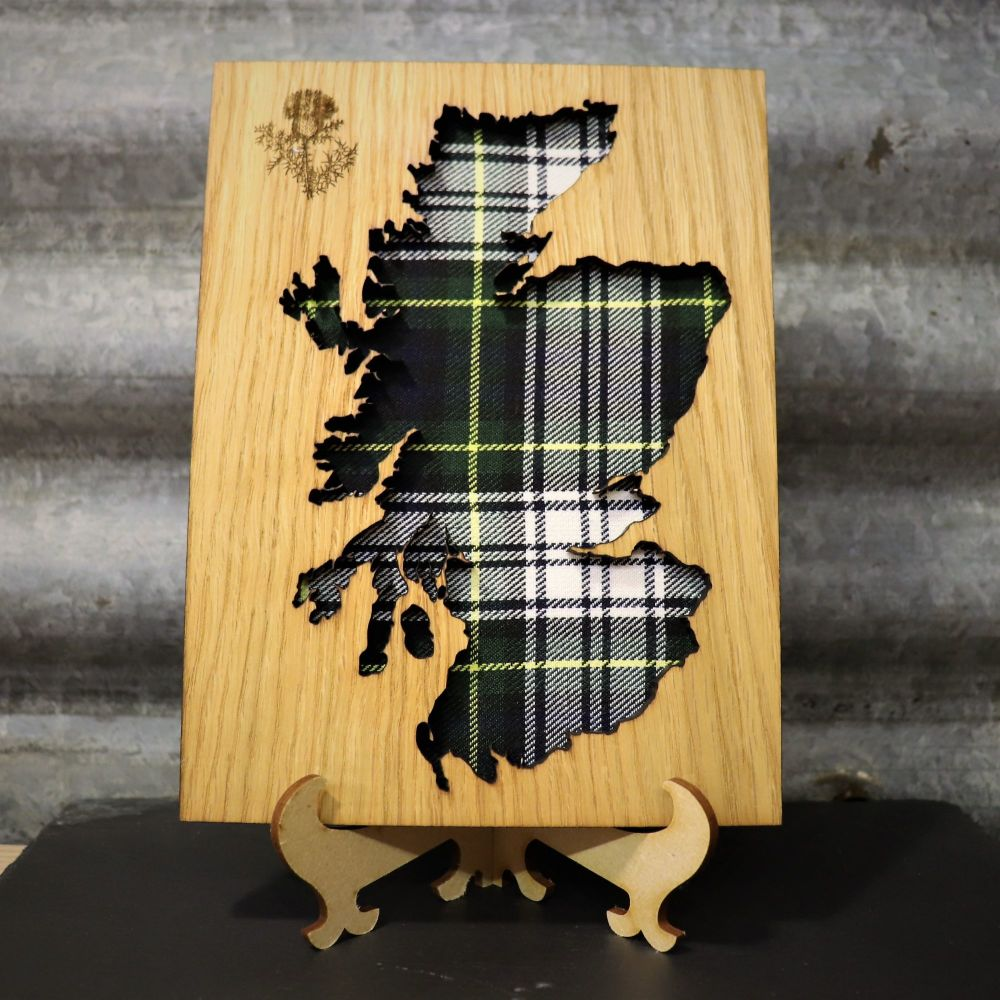 Gordon Green Scotland Cut-Out Wall Art with Engraved Thistle Emblem. 20x15c