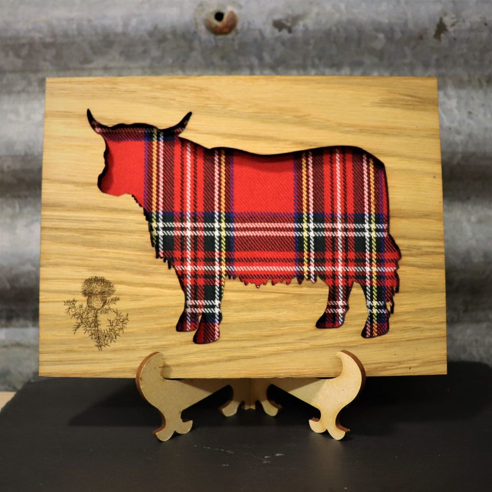 Royal Stewart Highland Coo Cut-Out Wall Art with Engraved Thistle Emblem. 2
