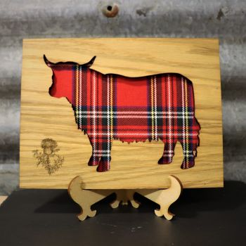 Royal Stewart Highland Coo Cut-Out Wall Art with Engraved Thistle Emblem. 20x15cm