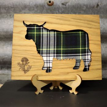 Gordon Green Highland Coo Cut-Out Wall Art with Engraved Thistle Emblem. 20x15cm