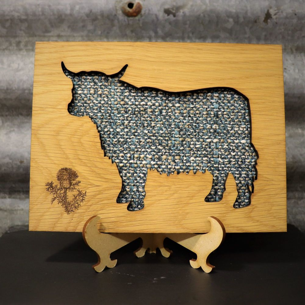 Tweed Highland Coo Cut-Out Wall Art with Engraved Thistle Emblem. 20x15cm
