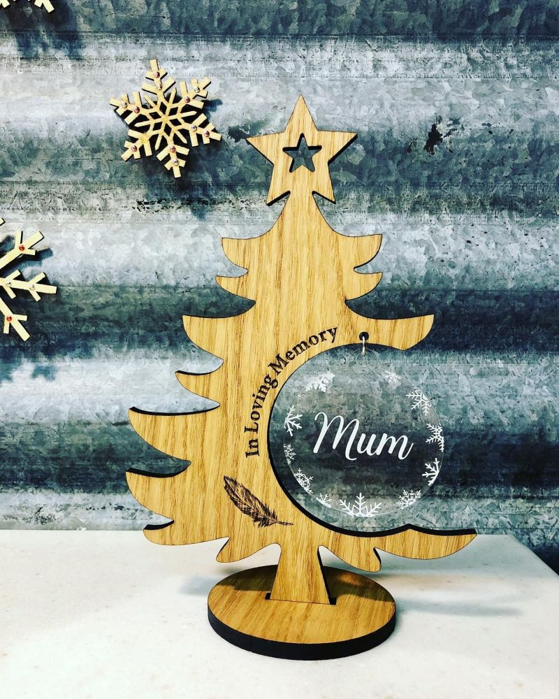 Oak Christmas Tree Memorial with Clear Christmas Bauble