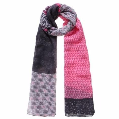 Pink Grey Tone Mix Print Women Trendy Scarf
