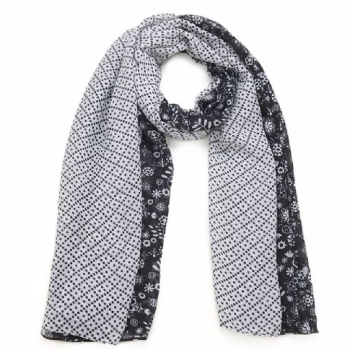 White Black Polka Dot And Floral Women Ladies Trendy Scarf