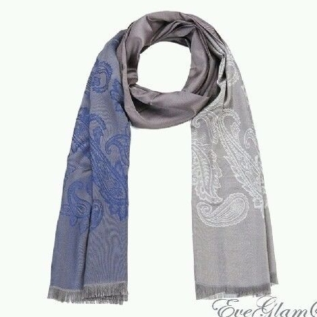 Kaytie Wu trendy women paisley long scarf brown