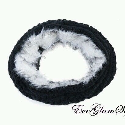 Trendy Celebrity Style Women Faux Fur Knitted Black Women Snood