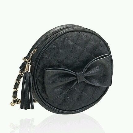 Black Quilted Round Cross Body Women Shoulder Bag