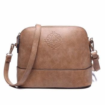 Vintage Style Brown Women Embossed Cross Body Shoulder Bag