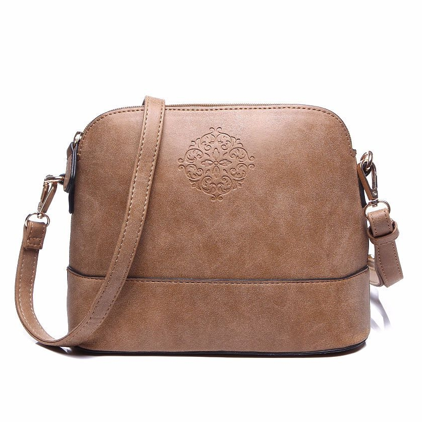 Vintage Style Brown Women Embossed Cross Body Shoulder Bag