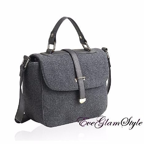 Trendy Unique Stylish Grey Felt Women Shoulder Bag Cross Body