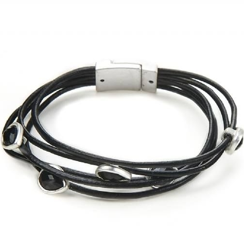 Black Multi Leather Straps Bracelet With Crystal Stones