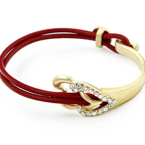 Red Leather Women Bracelet Gold Hearts Finish