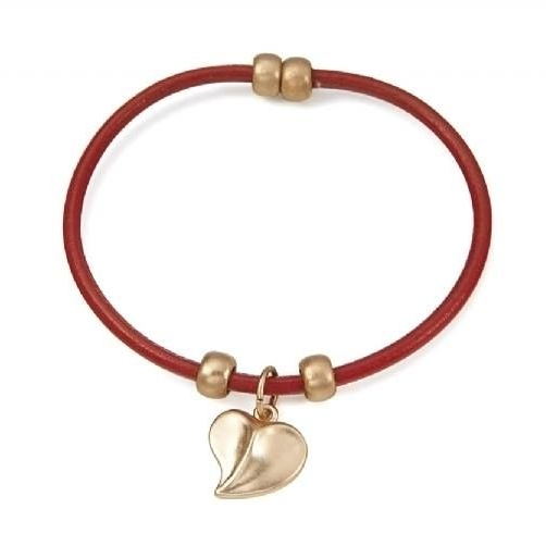 Delicate Red Single Leather Strap Bracelet With Matt Gold Finish Heart Char