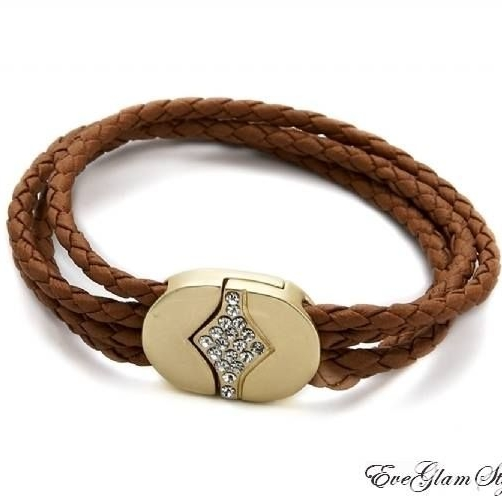 Multi Strap Brown Leather Bracelet Diamante Gold Finish