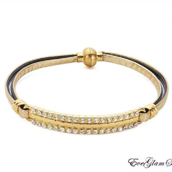 Slim Gold Navy Leather Bracelet