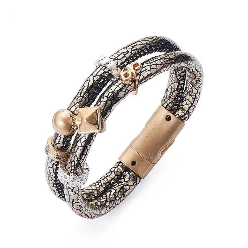 PU Leather Multi Charms Double Strap Brown Bracelet