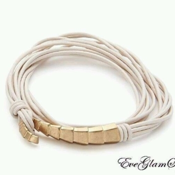 Gold Cream Multi Strap Leather Bracelet