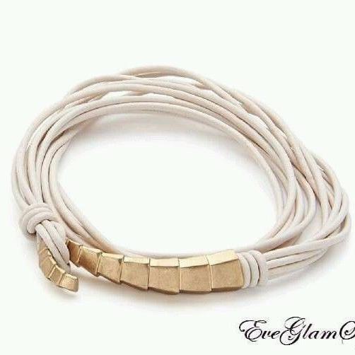 Cream Multi Strap Leather Bracelet