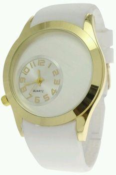 White Gold Gel Strap Women Watch