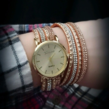 Geneva Ladies Watch Nude Suede Multi Strap Crystals Gold Finish