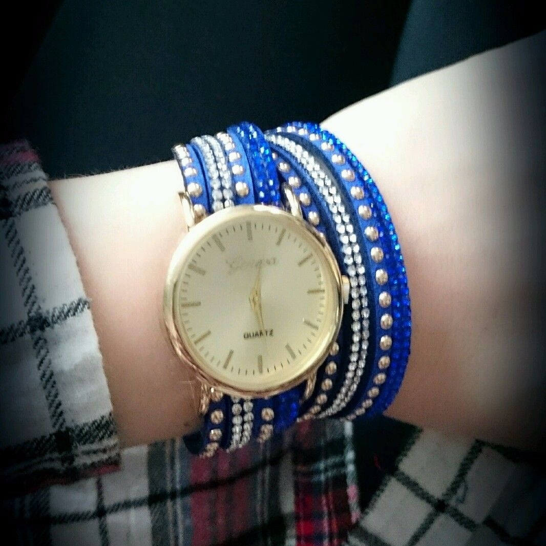 Geneva Ladies Watch Royal Blue Suede Multi Srap Crystals Gold Finish