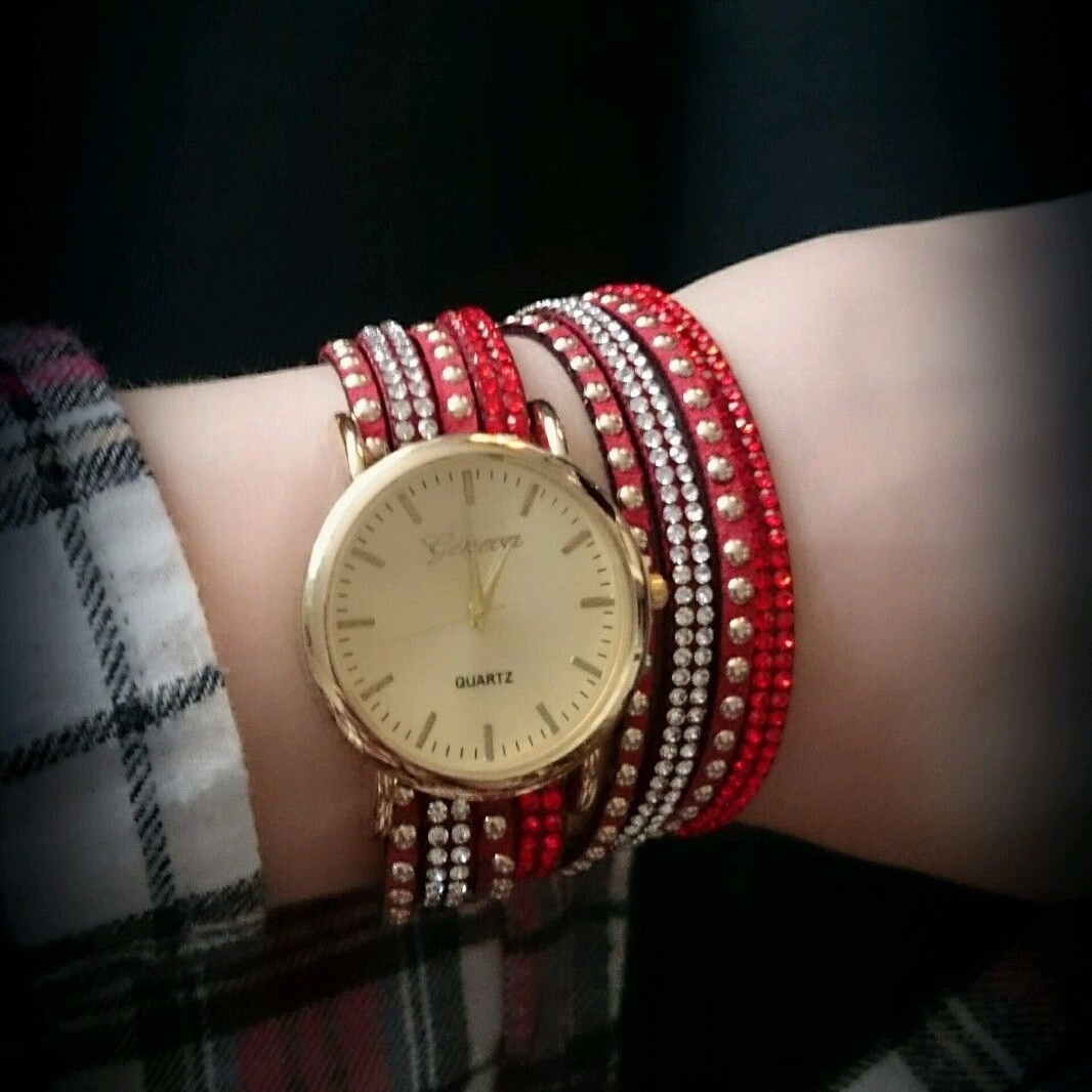 Geneva Ladies Watch Red Suede Multi Straps Crystals Gold Finish