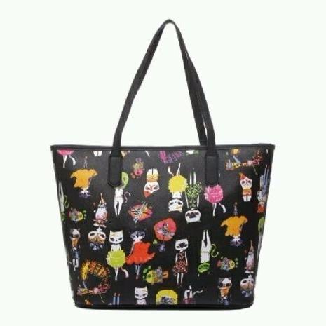 Black Cat Print Large Tote Shopper Bag Women Ladies handbag