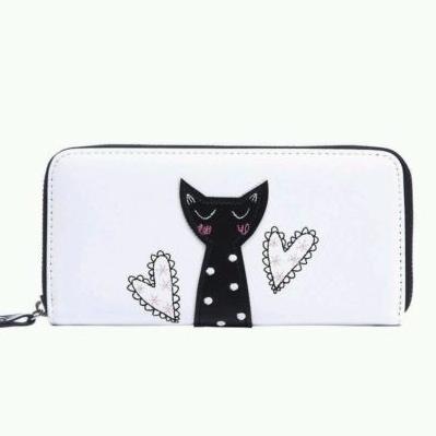 White Black Cute Cat Print Women Purse Wallet