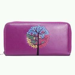 Purple Tree Design Women Purse Wallet