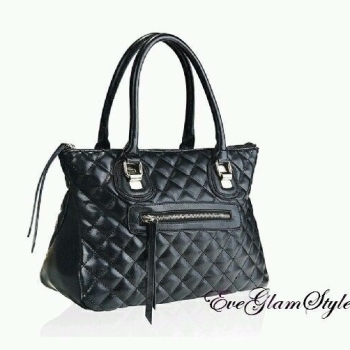 Black Quilted Designer Style Women Tote Handbag by Intrigue