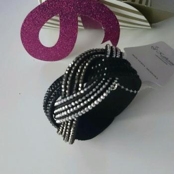 Black suede twist trio tones crystals women ladies bracelet