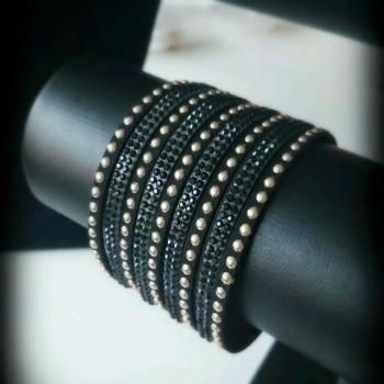 Suede Vintage Black Gold Studs Women Bracelet