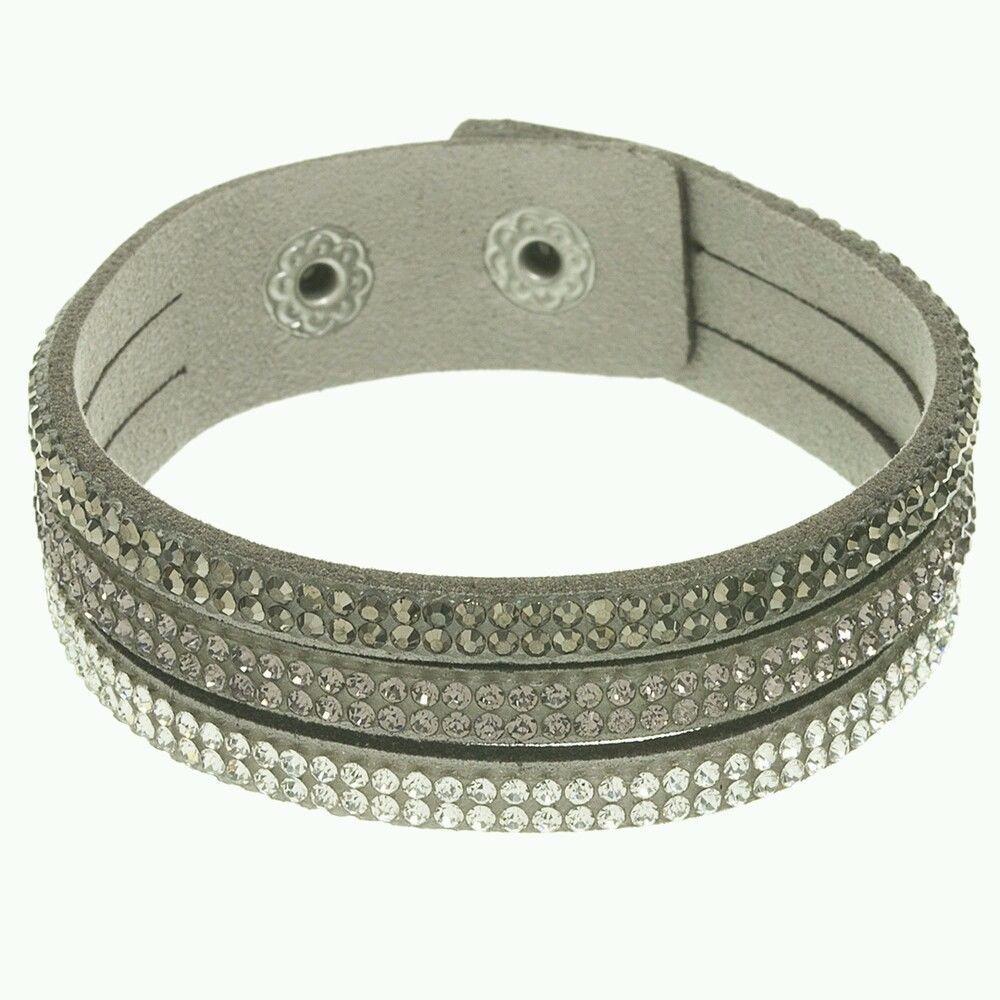 Grey Suede Women Ladies Bracelet Trio Shades Crystals