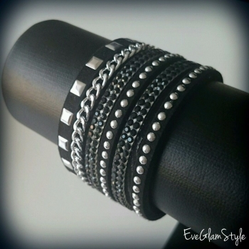 Suede Trendy Oversize Bracelet With Studs And Crystals