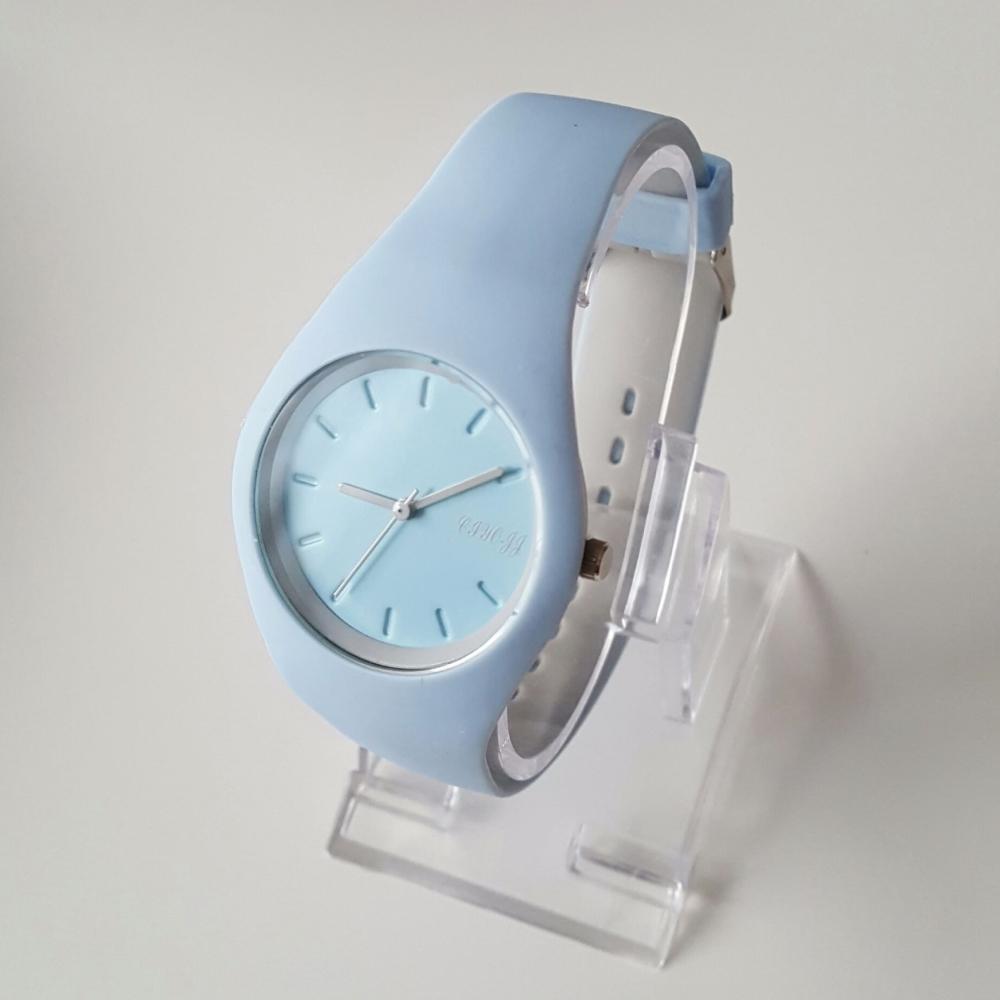 Gel Strap Sport Style Baby Blue Grey Women Watch