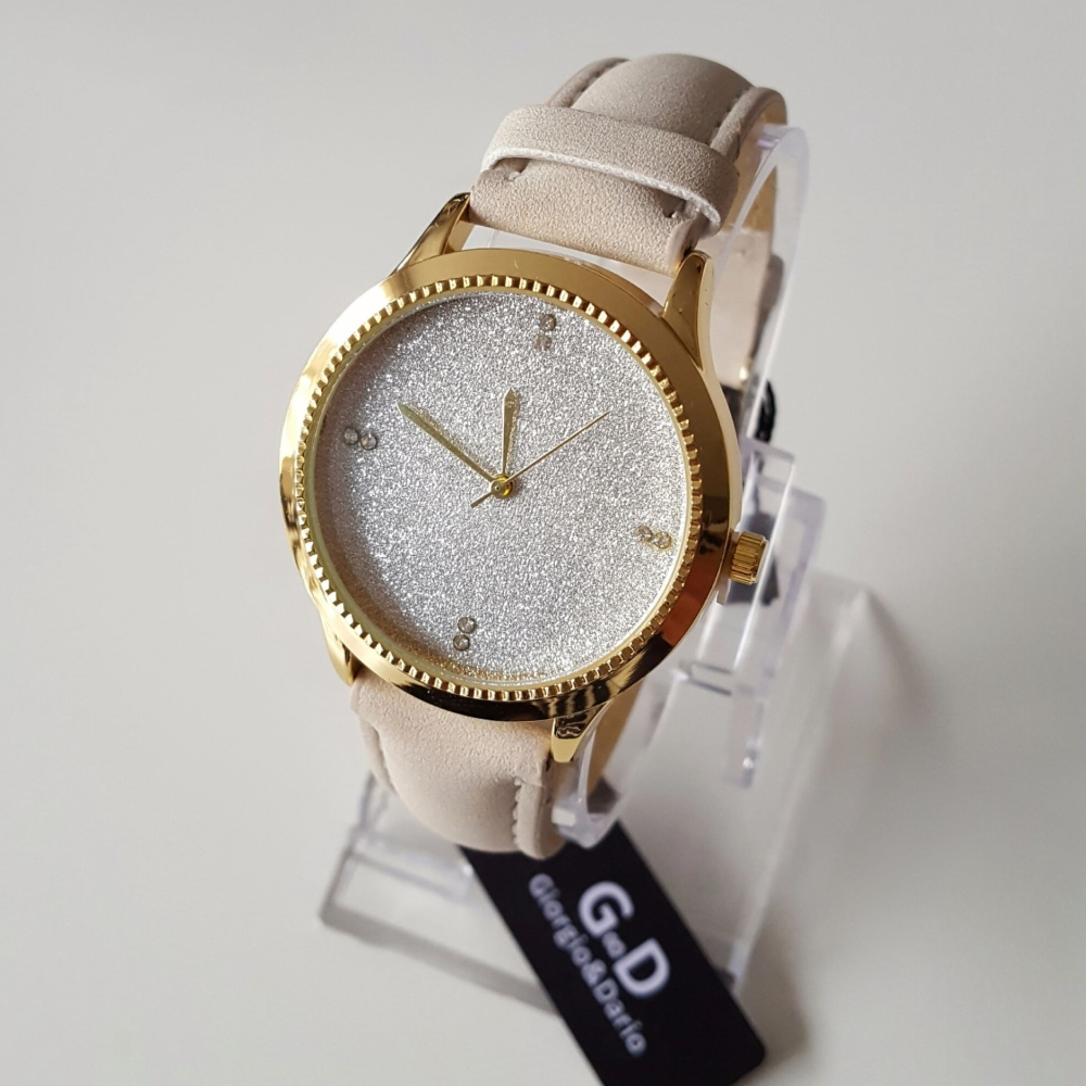 Sparkle Face Women Trendy Watch Beige Gold finish