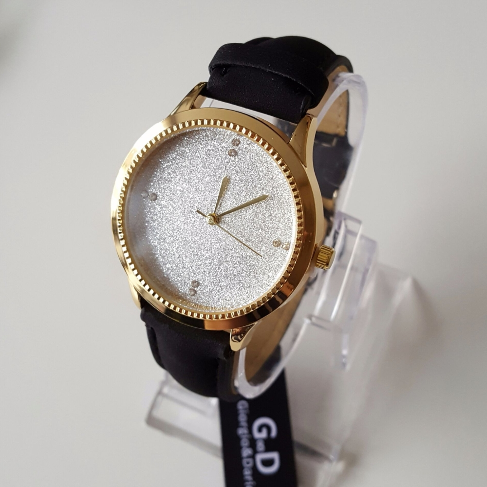 Black Sparkle Face Women Trendy Watch Gold Finish