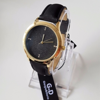 Black Sparkle Face Women Trendy Watch Gold Finish Fully Black