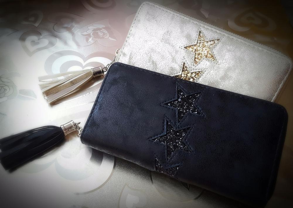Beauty Eco Suede Glitter Star Women Purse Wallet