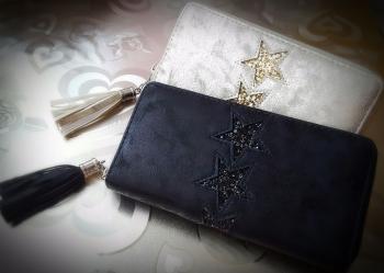 Suede Look Glitter Star Women Purse Wallet