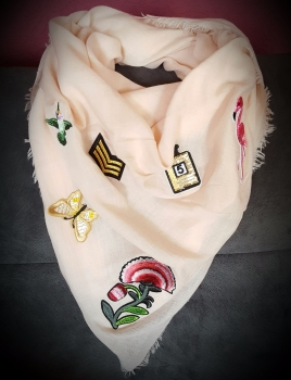 Women Trendy Pastel Scarf With Fancy Badges