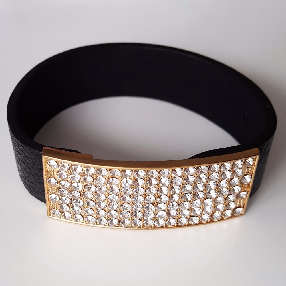 Black Leather Bracelet With Crystals Gold Finish