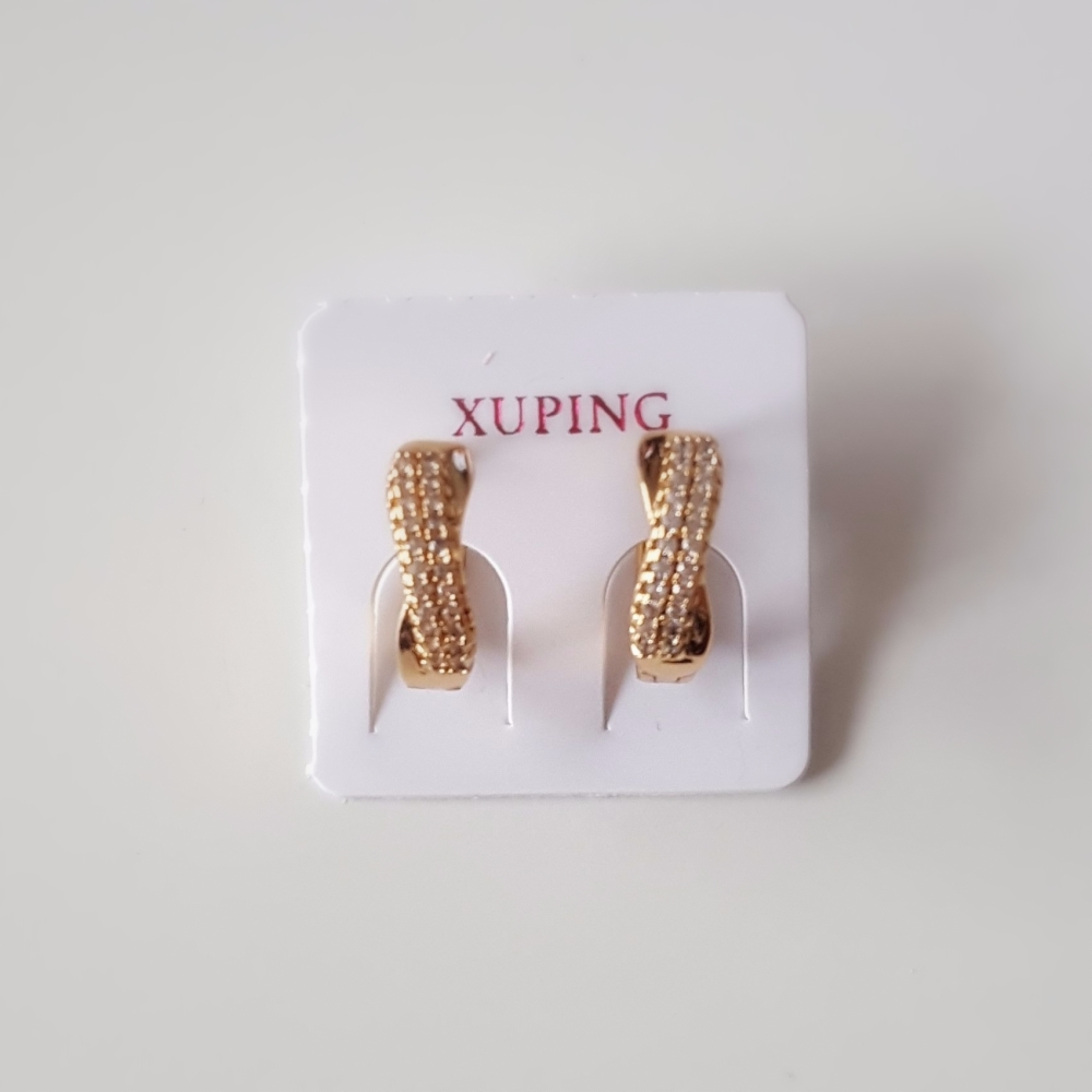 Real Gold Plated Women Earrings Twist Crystals