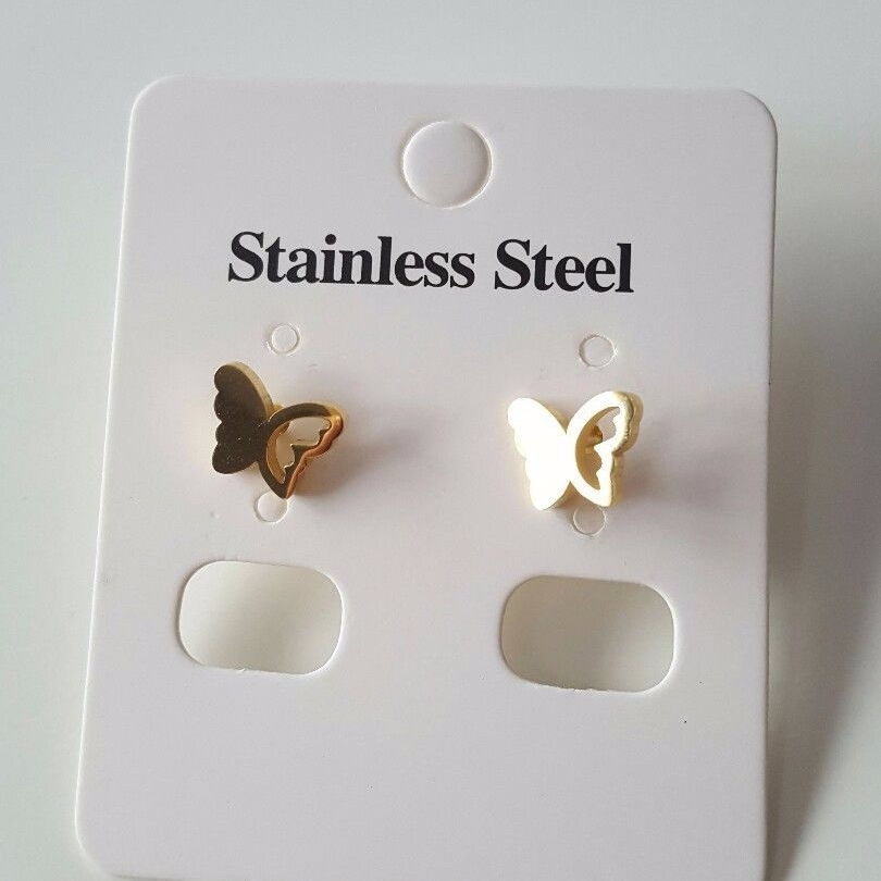 Small Real Gold Plated Women Stud Earrings Mirror Finish Butterfly