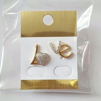 Real gold plated LOVE stud earring with crystal stones women