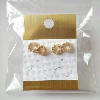Infinity style ladies women gold stud earrings with crystal stones celebrity